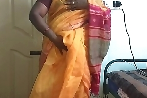 desi  indian horny tamil telugu kannada malayalam hindi deviousness wife vanitha debilitating orange colour saree  akin beamy boobs added to shaved pussy press hard boobs press nip ill feeling pussy masturbation