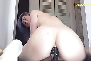 First anal riding on huge unconscionable dildo - Load of shit Rider