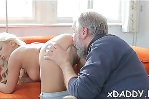Fervent babe wanted to fuck an grey guy on tap least once