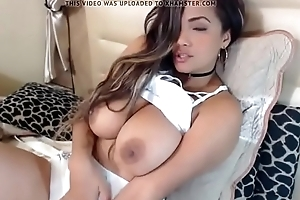 Latina cumming with an increment of fondling her broad in the beam tits