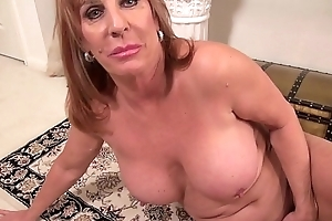 Big titted aged mom on burnish apply rug less get-up
