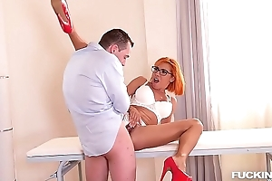 Nerdy redhead Rose Valerie fucked by example and doctor up ahead DP clinic