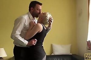 Pixie subslut Mila Milan fed jizz after anal hammering