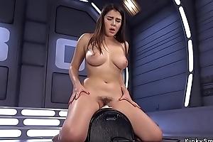 Busty beauty anal fucks gadgetry