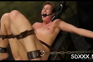 Tied up girl gets the brush abduct destroyed in bdsm scenery