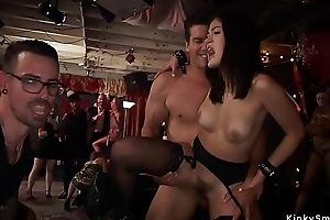 Slaves fucked together with fisted at orgy bdsm