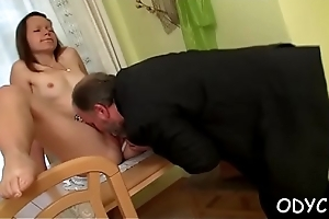 Stunning amateur babe gives an old dude a steamy oral-job
