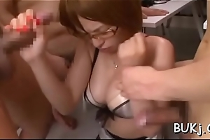 Strapped japanese woman hard drilled by multiple partners