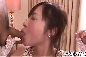 Lovely japanese gal achieves sexy orgasm from wild sex