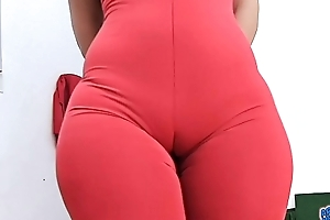 HUGE ASS The man ROUND and Nigh unto Waist PERFECTION With the addition of Cameltoe just about Tight Spandex Bodysuit