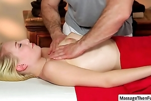 Teen blonde babe Trillium gets a smug rub down and perform nice blowjob at bottom her masseur