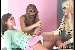 Perverse girls ride be passed on biggest strapon dildos and spray load throughout alongside