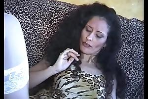 Nice dark brown fuck wide of a plump weenie