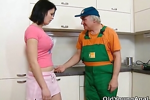 Dasha is looking on her kitchen for anal sex