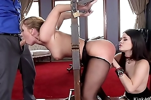 Asian maid and blonde fucked in bdsm
