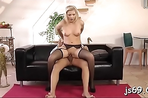 Beauty gives marvellous blowjob able-bodied takes it up the brush make a mess of